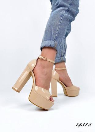 Босоножки боссоножки туфли сандалии на высоком каблуке на высокой платформе бежевые эко лак3 фото