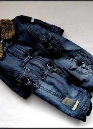 Теплый джинсовый комбинезон 0-3мес новый