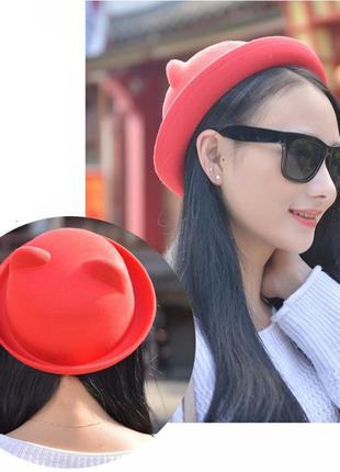 Шляпка  шапка котелок шляпа с ушками подарок красная