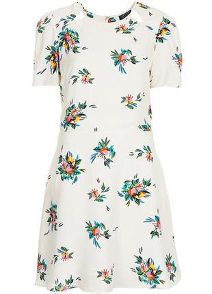 Милое натуральное платье в цветочный принт №280