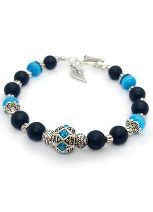 😺💙 браслет натуральный камень шунгит и голубой кошачий глаз застежка тогл
