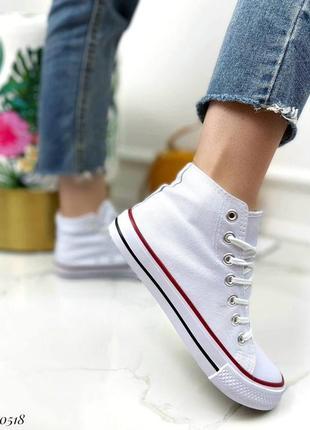 Текстильные кроссовки кеды белые низкие высокие
