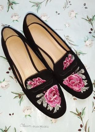 🎁1+1=3 нереально красивые черные замшевые вышитые туфли лоферы new look, 38 размер