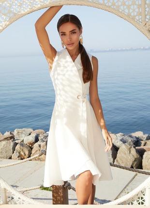 Хит 2021! разные цвета! легкое летнее платье без рукав миди до колен клёш на запах расклешенное льняное лён
