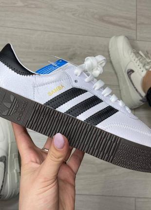 Стильные женские кроссовки  adidas samba white black