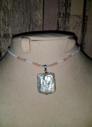 Чокер, серебро 925, жемчуг, ларимар