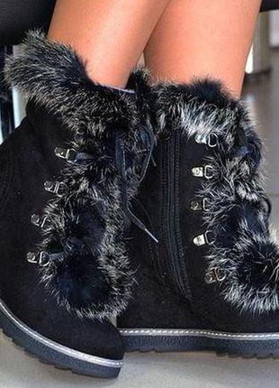 Ботинки зимние с опушкой кролик. 35 размер
