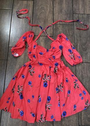 Новое летнее платье рубашка с бирками легкое на завязках