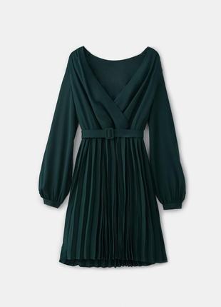 Элегантное платье mohito 34 xs, s шифон (зеленый, бутылочный)