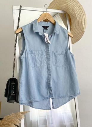Стильная рубашка топ джинсовая из натуральной ткани h&m