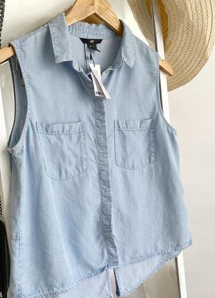 Стильная рубашка топ джинсовая из натуральной ткани h&m3 фото