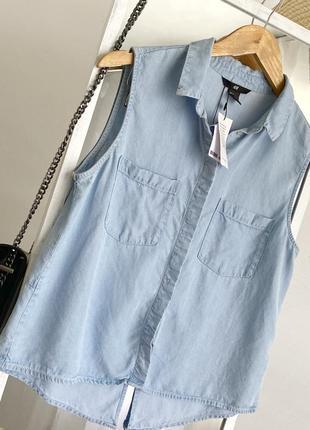 Стильная рубашка топ джинсовая из натуральной ткани h&m4 фото