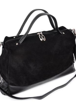 Замшевая мягкая сумка шоппер черная комбинированная на плечо