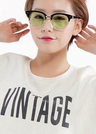 Распродажа черные очки-броулайнеры с салатовыми стеклами и пластиковыми бровями