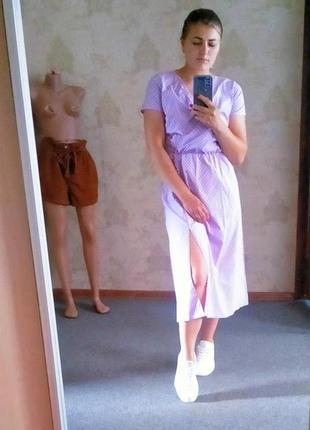 Распродажа! 💜 великолепное платье миди в мелкий горошек на запах лиловое4 фото