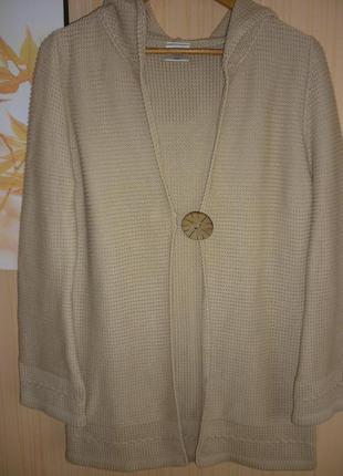 Теплый кардиган накидка кофта джемпер с капюшоном  50 размер next