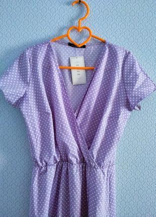 Распродажа! 💜 великолепное платье миди в мелкий горошек на запах лиловое2 фото