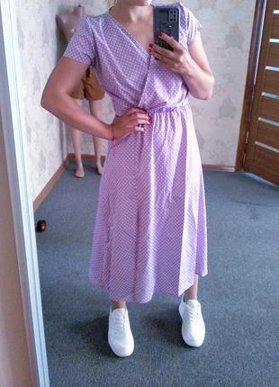 Распродажа! 💜 великолепное платье миди в мелкий горошек на запах лиловое3 фото