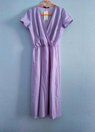 Распродажа! 💜 великолепное платье миди в мелкий горошек на запах лиловое1 фото