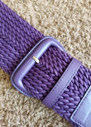 Ремень плетенный  шнур, кожа фиолетового цвета