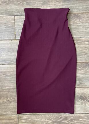 Бандажная юбка миди карандаш бордовая