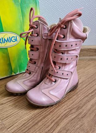 Кожаные демисезонные сапожки для девочки primgi 24 р 15.5 см весенние осенние межсезонные ботинки