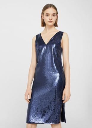 Блестящее платье с разрезами mango premium