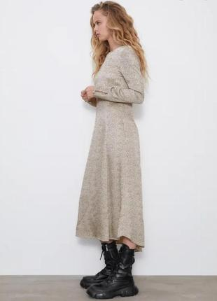 Платье вискоза миди бежевое в черный горох  zara xs s