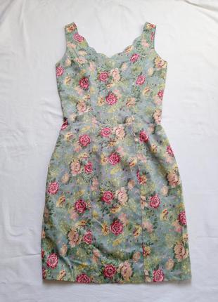Платье летнее мини в розы винтаж сукня вінтаж