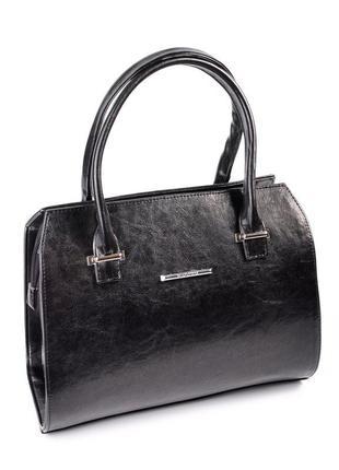 Черная женская каркасная сумка саквояж на молнии