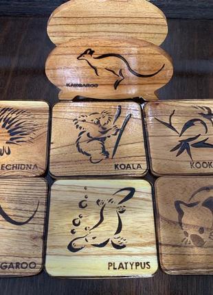 Набор 6 шт. деревянных подставок бирдикель под бокалы, дерево, англия.