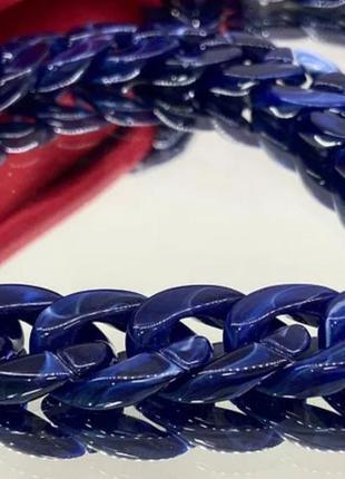 Женская крупная акриловая цепь для очков синяя
