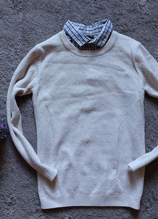 Свитер с рубашкой-обманкой для мальчика