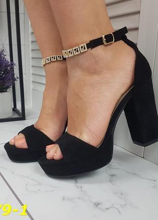 Босоножки замшевые классика на широком толстом каблуке черные