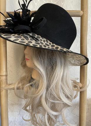 Шикарная леопардовая шляпа шляпка с большим цветком