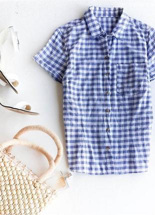 Хлопковая легкая рубашка в клетку h&m
