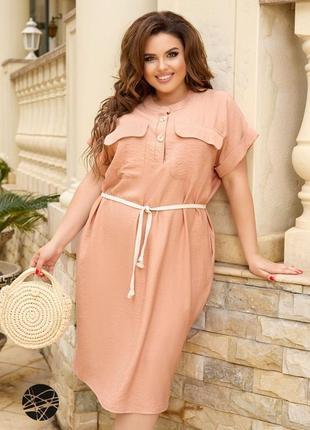 Лляна сукня-сорочка з поясом 5 цветов