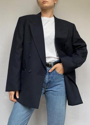 Двубортный пиджак, тёмно синий, жакет оверсайз, трендовый пиджак