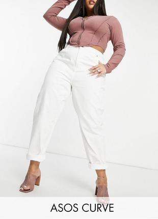Белые джинсы мом свободные с высокой посадкой, неэластичный деним asos батал
