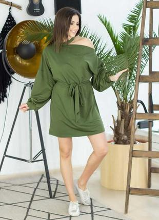 Платье на одно плечо с поясом вырез под шею чокер