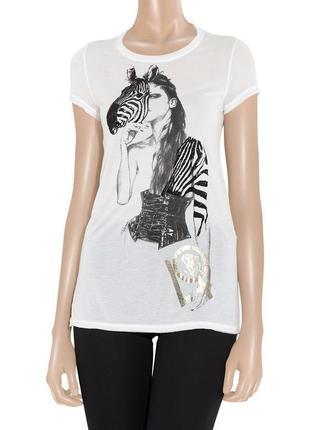 Оригинальная футболка с шелком roberto cavalli