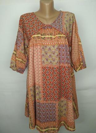 Платье натуральное красивое в орнамент хлопок mango s