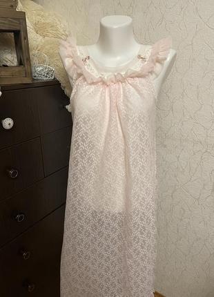 Нежно розовый пеньюар, винтажная ночнушка