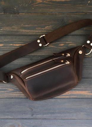 Кожаная сумка ручной работы унисекс, бананка из кожи, поясная сумка, на пояс