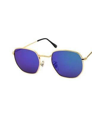 Солнцезащитные очки giovanni bros шестиугольные в золотой оправе с синими линзами