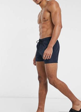 Asos design темно-синие плавательные шорты