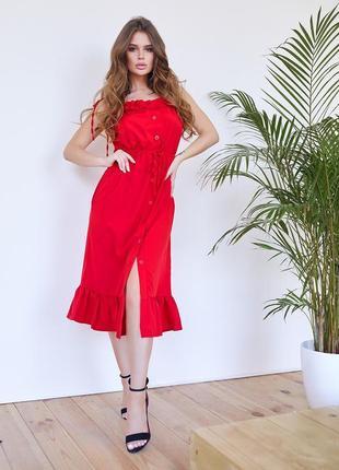Крутой красный сарафан с рюшами и воланом