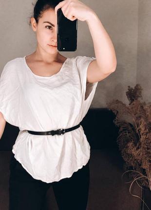 Белая хлопковая рубашка блуза база