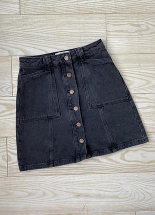 Джинсовая юбка трапеция на пуговицах new look