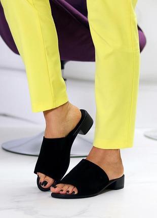 "Сабо на каблуке ""volta"" женские натуральная замша"